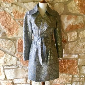 Tracy Reese Anthropologie Silver Brocade Coat